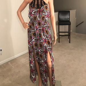 Fire Los Angeles, multi colored halter maxi dress